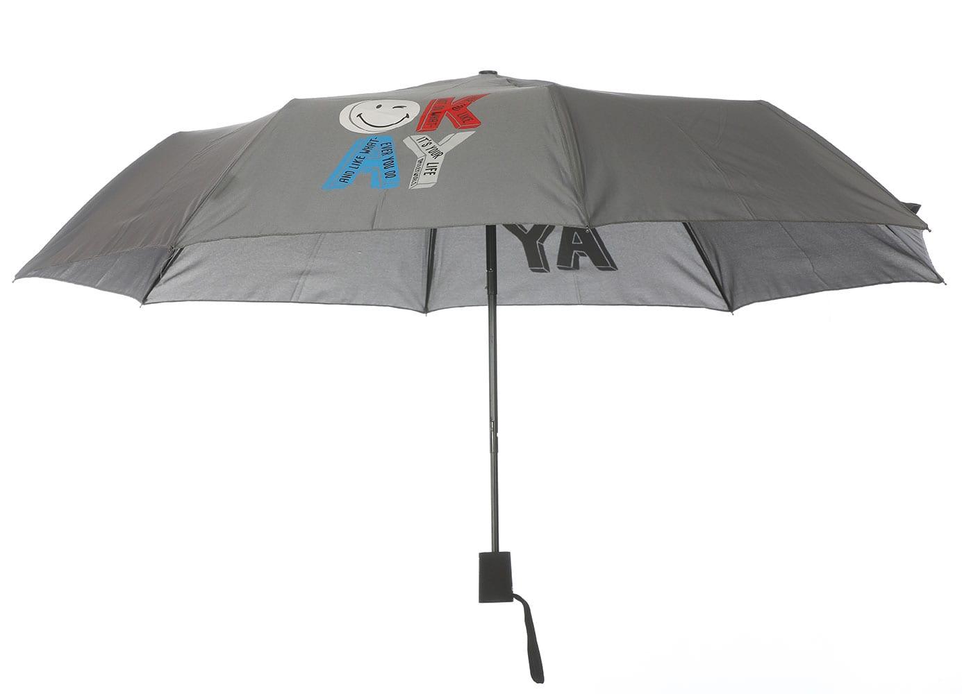 Smiley World Ομπρέλα Σπαστή με Αυτόματο Μηχανισμό SML-9230 Γκρί