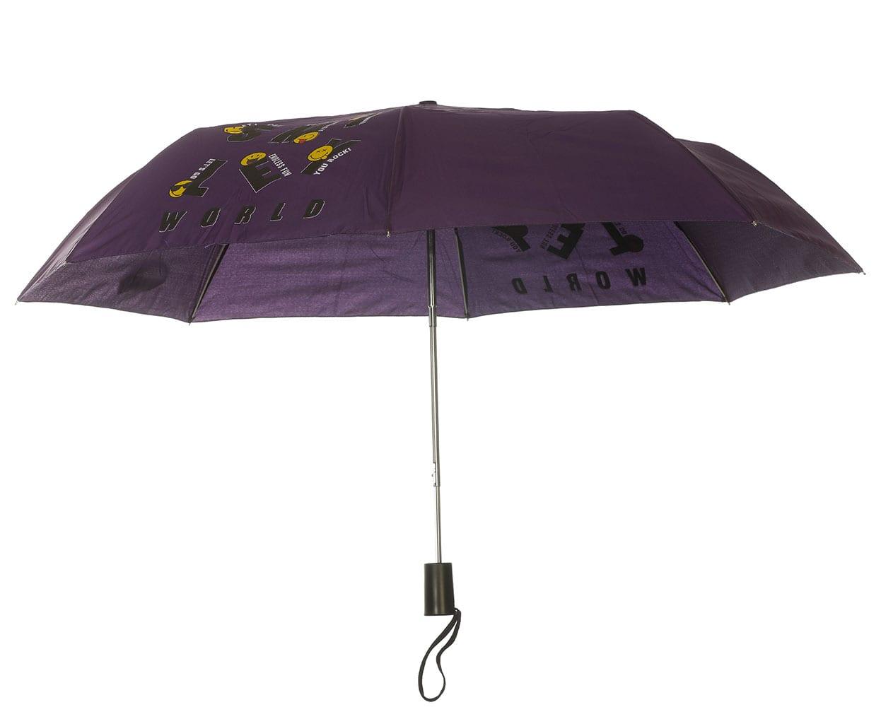 Smiley World Ομπρέλα Σπαστή με Αυτόματο Μηχανισμό SML-9430 Μώβ