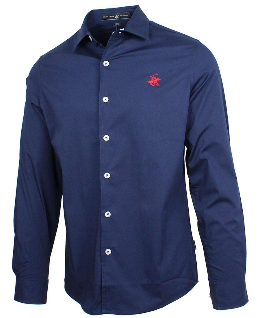 BEVERLY HILLS POLO CLUB Slim Stretch Poplin Shirt M3723 True Navy