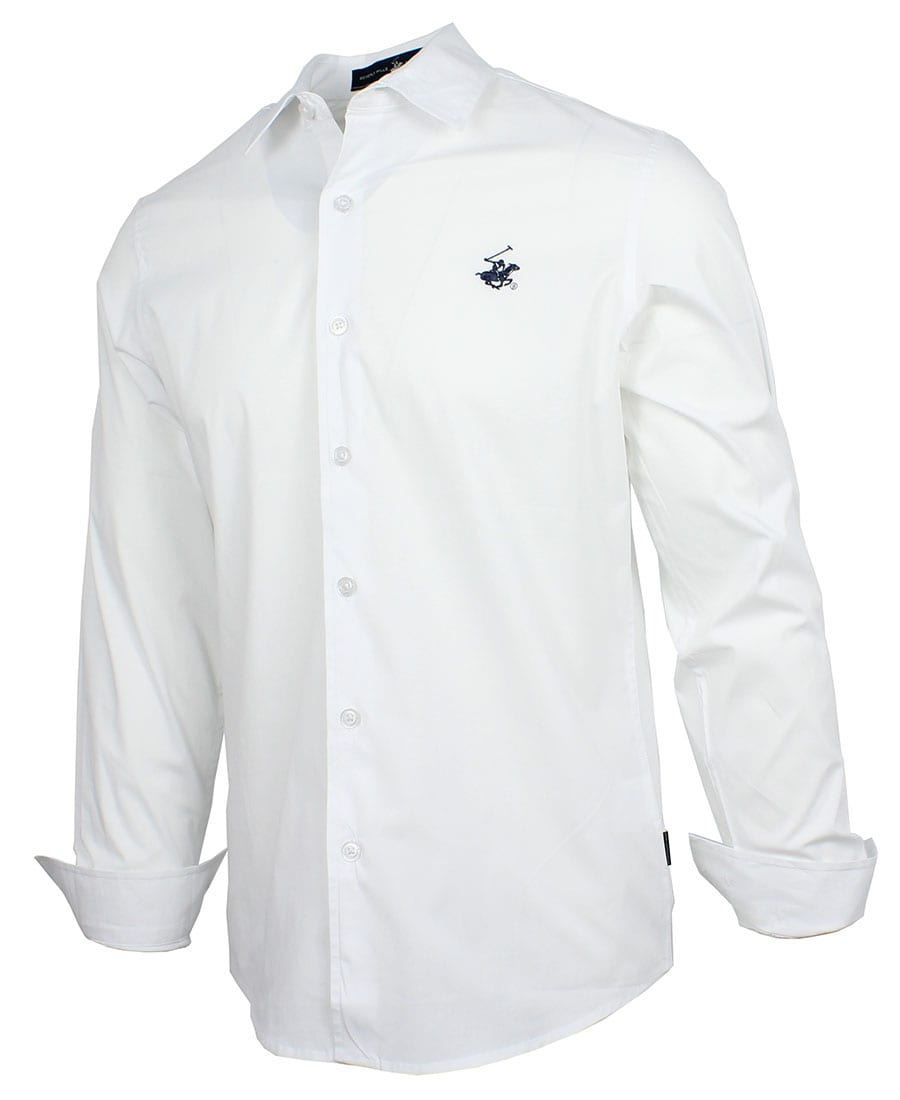 BEVERLY HILLS POLO CLUB Slim Stretch Poplin Shirt M3723 White
